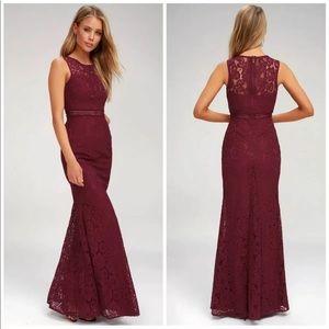 Lulu's small burgundy lace dress NEW